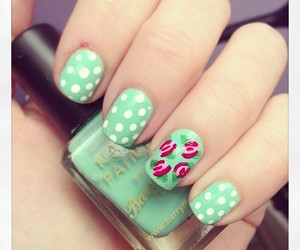 green, pois, and white image