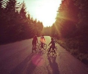 friends, bike, and nature image
