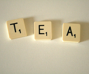 letters, scrabble, and tea image