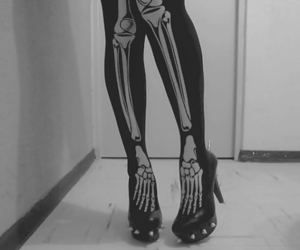 bones, shoes, and black and white image