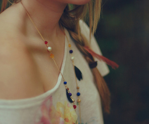 girl, necklace, and braid image