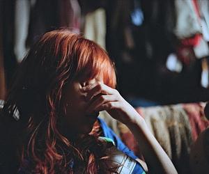 girl, red hair, and sad image