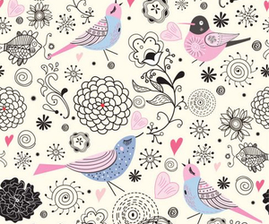bird, flowers, and background image