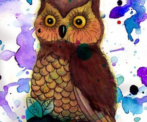 illustration, owl, and antique image