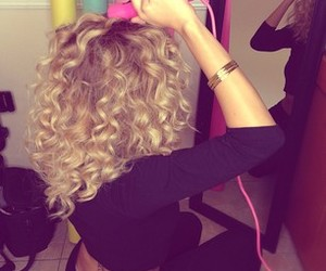 blond, curly hair, and hair image