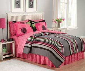 beautiful, bedspread, and black image