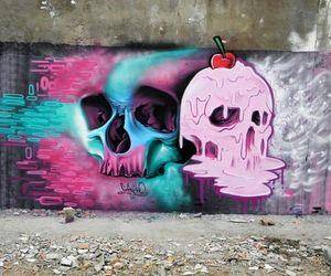 art, skull, and pink image