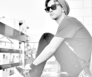 black and white, cap, and sunglasses image