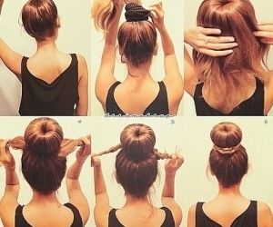 hair, hairstyle, and bun image