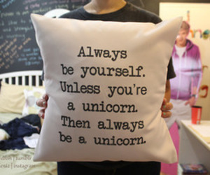 unicorn, pillow, and be yourself image