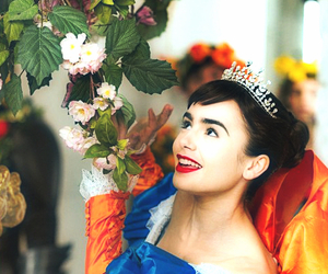 lily collins, snow white, and mirror mirror image