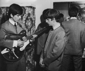 black and white, george harrison, and john lennon image