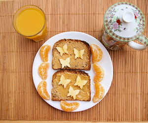 food, breakfast, and butterfly image