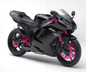 motorcycle, black, and pink image
