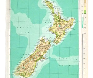 vintage map and new zealand map image