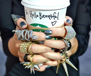 starbucks, rings, and coffee image