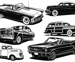 art, vintage cars, and cars image