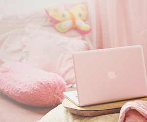 pink, laptop, and apple image
