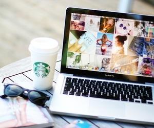 starbucks, sunglasses, and macbook image