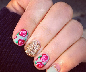flowers, gold glitter, and Teen Vogue image
