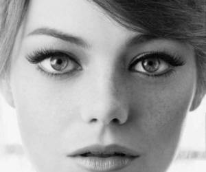beauty, emma stone, and black and white image