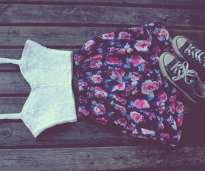 flowers, converse, and fashion image
