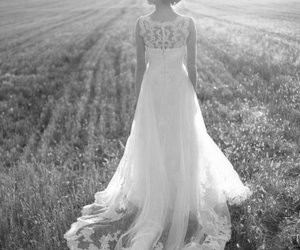 black and white, wedding dress, and bride image