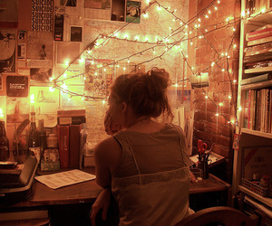 light, girl, and room image