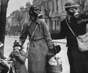 b&w, gasmask, and cold war image