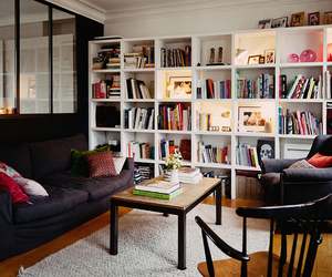 bookshelf, indoor, and living room image