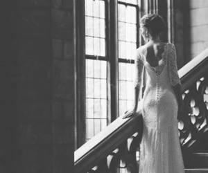 black&white, bride, and blonde image