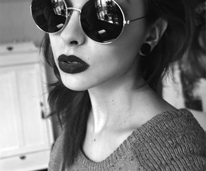 girl, glasses, and lips image