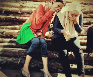 best friend, hijab, and laugh image
