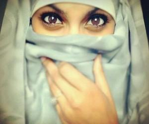 eyes, hijab, and niqab image