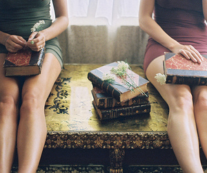 books, flowers, and legs image