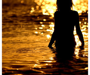 girl, silhouette, and gold image