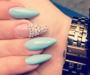 nails, blue, and diamond image