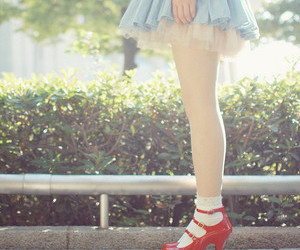 red, shoes, and dress image