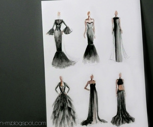 dress, sketch, and black and white image