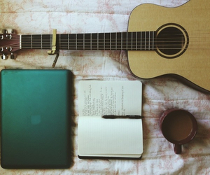 guitar, book, and coffee image
