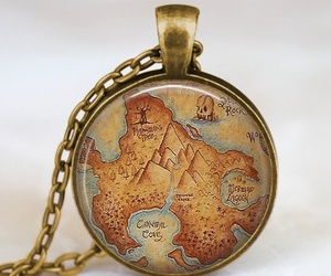 map, necklace, and neverland image