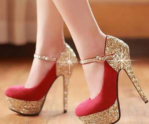 gold and red high heels image