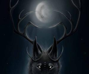 animals, fantasy, and moon image
