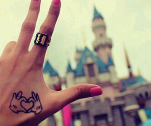 castle, disney, and hand tattoo image