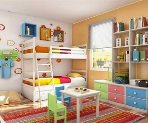 bunk bed, storage, and shelves image