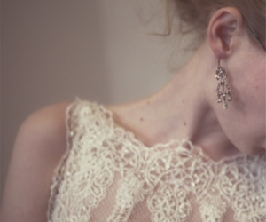 girl, earrings, and lace image