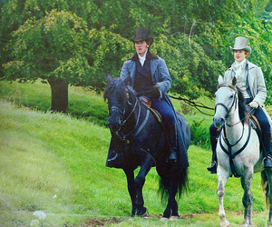 mr darcy, horses, and pride and prejudice image