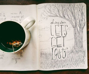 tea, book, and drawing image