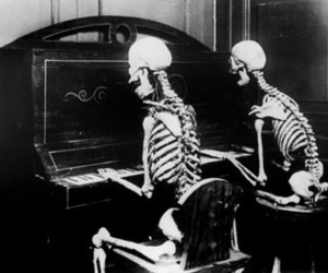 skeleton, piano, and black and white image
