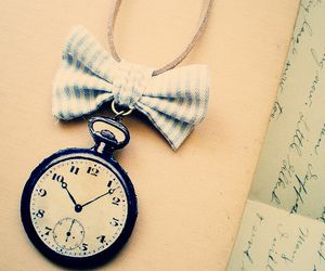 clock, bow, and Letter image
